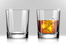 Glass Of Scotch Whiskey And Ic...