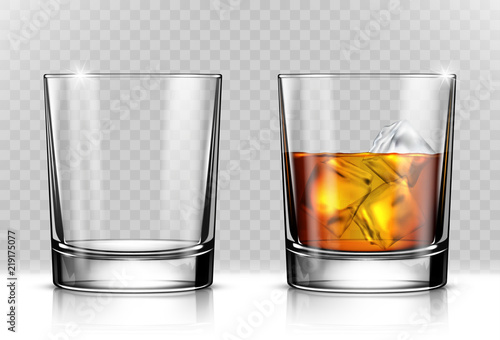 Glass of scotch whiskey and ice on transparent background Wallpaper Mural