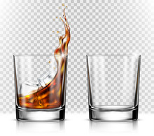 Empty And Full Whiskey Glass W...