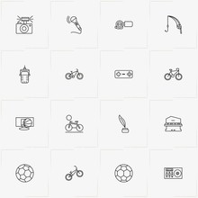 Hobbies Line Icon Set With Feather, Microphone And Soccer Ball