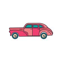 Old Car Icon, Cartoon Style
