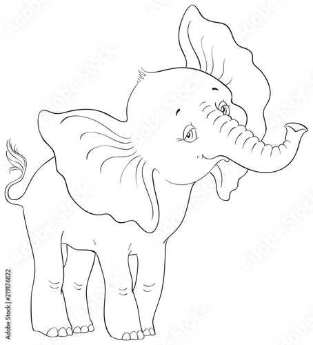 Cartoon Cute Baby Elephant Standing Isolated On White Background