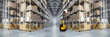 canvas print picture Panorama of huge distribution warehouse with high shelves with forklift. Bottom view.