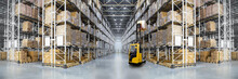 Panorama Of Huge Distribution Warehouse With High Shelves With Forklift. Bottom View.