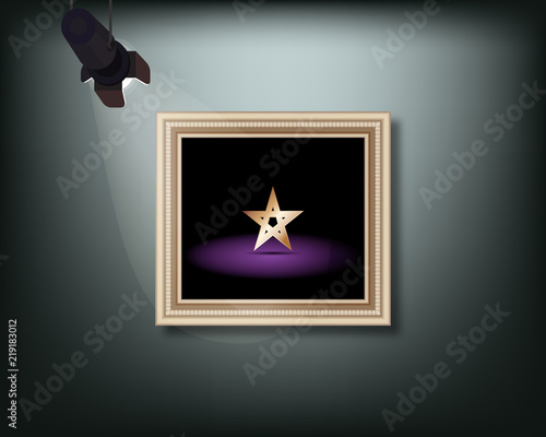 Framed image with pedant cone lamp on wall. Vector illustration. Fototapet