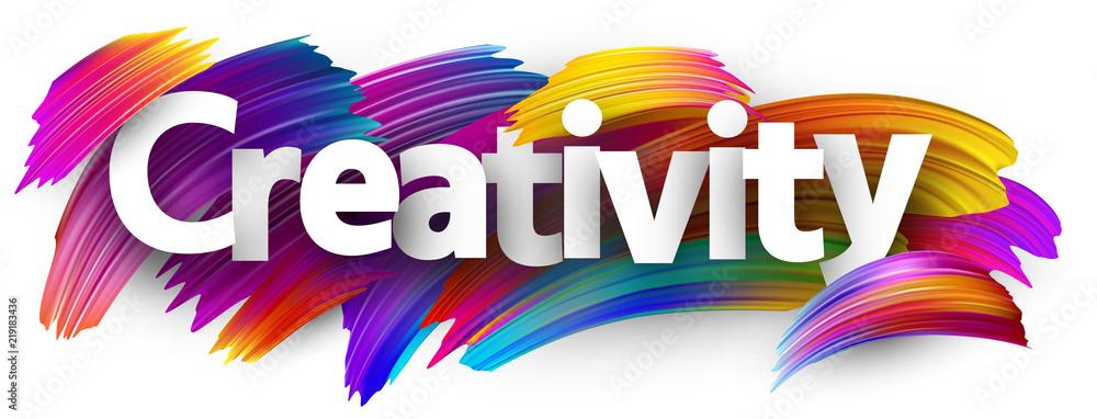 Fototapeta Creativity banner with colorful brush strokes. - obraz na płótnie