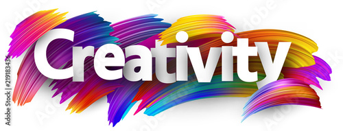 Creativity banner with colorful brush strokes. Wallpaper Mural
