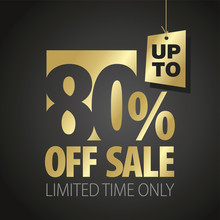 80 Percent Off Sale Discount Limited Time Gold Black Background