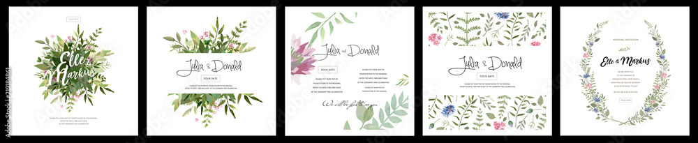 Fototapeta big set of watercolor vector cards with flowers and leaves. Wedding ornament concept. Floral magazine, poster, invite. Vector layout decorative greeting card or invitation design background