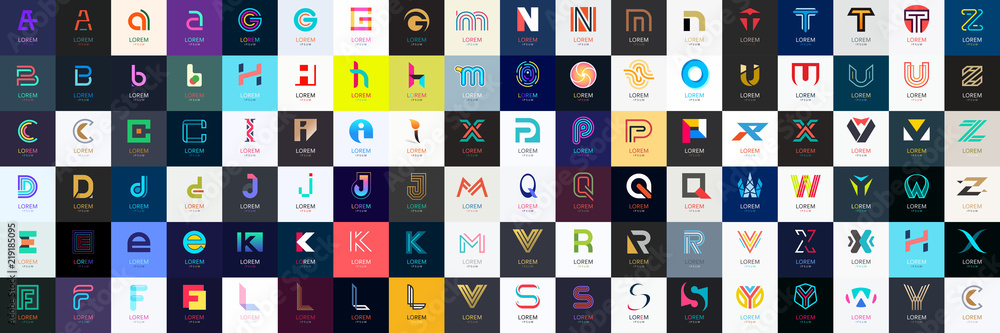 Fototapety, obrazy: Abstract logos mega collection with letters. Geometrical abstract logos
