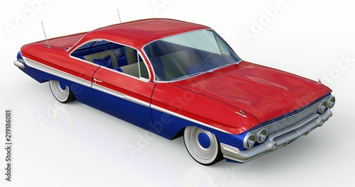 Fotografia  Old American car in excellent condition. 3d rendering.