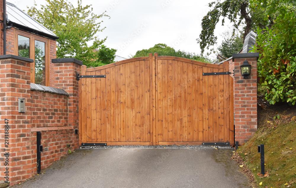 Fototapeta Wooden security gate with keypad lock