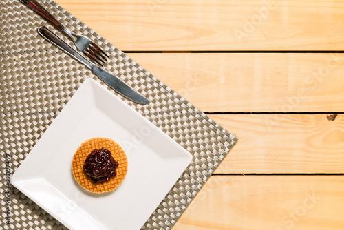 Papel de parede Belgian waffle with blueberry - breakfast