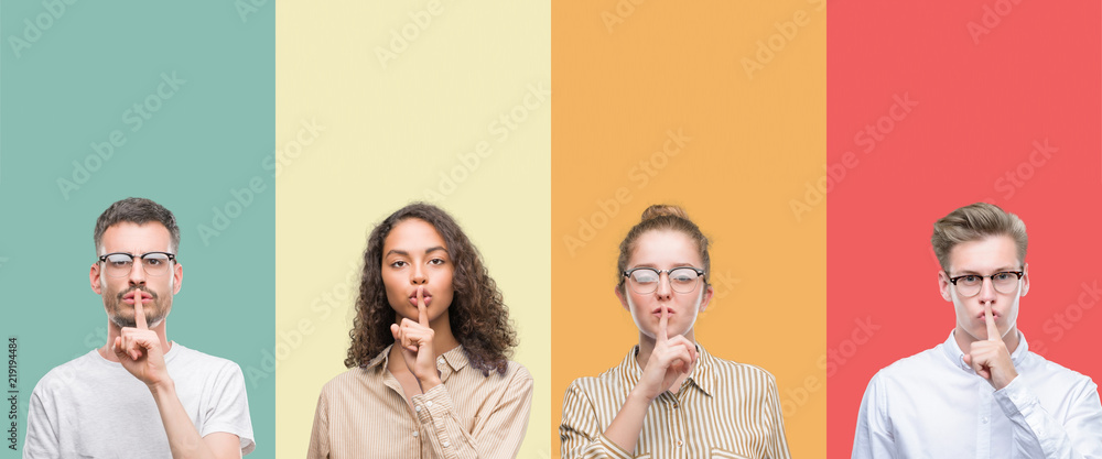 Fototapeta Collage of a group of people isolated over colorful background asking to be quiet with finger on lips. Silence and secret concept.