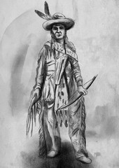 Native American. An hand drawn illustration, freehand sketching.