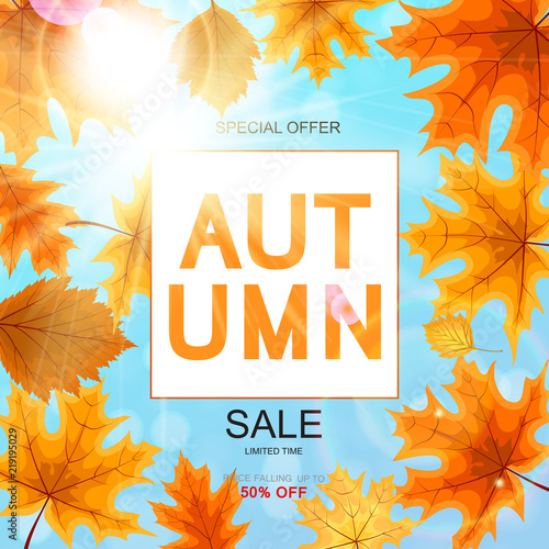 Fototapeta Abstract Vector Illustration Autumn Sale Background with Falling Autumn Leaves obraz na płótnie