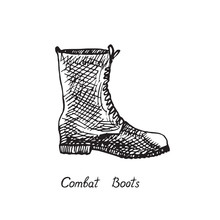 Combat Boots, Isolated Hand Drawn Outline Doodle, Sketch, Black And White Vector Illustration With Inscription
