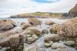 Rock formation at Polurrian Bay Beach Mullion West Cornwall South England UK