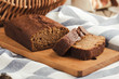 Leinwandbild Motiv Pumpkin loaf cake on rustic wooden board