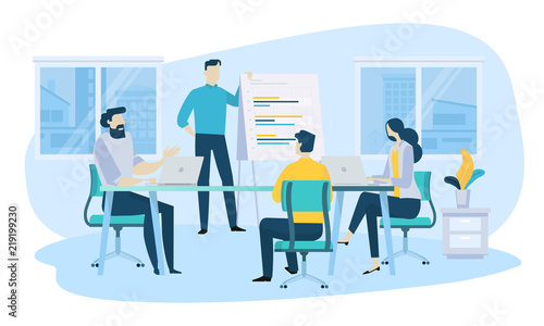 Obraz Vector illustration concept of business meeting, teamwork, training, improving professional skill. Creative flat design for web banner, marketing material, business presentation. - fototapety do salonu
