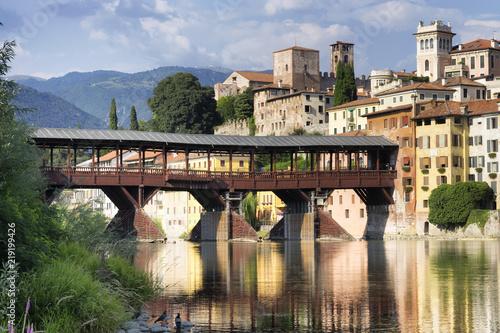 The Old Bridge in Bassano del Grappa, also called ponte degli Alpini, Italy.