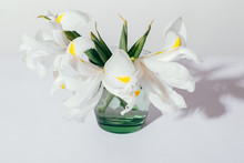 Top View Of White Iris Flowers On Table On Plain Light Background