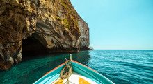 Sailing In The Mediterranean, Boat Tour Near The Coast In Malta
