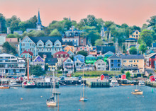 Lunenburg Waterfront Cityscape From The Other Side Of The Harbor In Nova Scotia