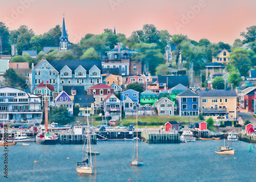 Fototapeta Lunenburg waterfront cityscape from the other side of the harbor in Nova Scotia