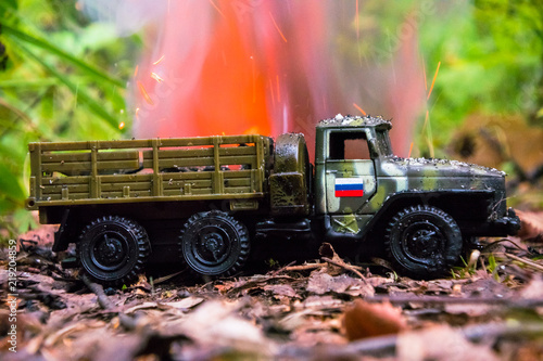 Photo  Burning of a russian military toy truck
