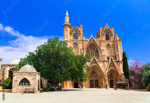 Wall Murals Northern Europe Landmarks of Cyprus -Lala Mustafa Pasha Mosque (St Nicholas Cathedral) in Famagusta