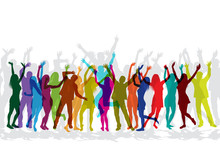 Colorful Silhouettes Of People Celebrating And Dancing On Party.