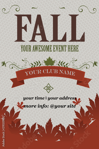 Fall Event Invitation Flyer Grunge Vector Illustration