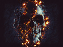 Dark Black Skull - Glowing Fla...