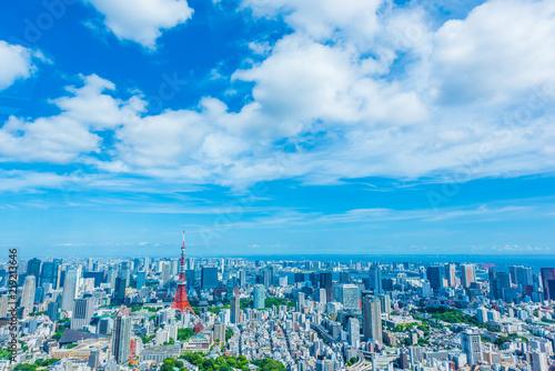 obraz lub plakat 東京の都市風景 Tokyo city skyline with Tokyo Tower