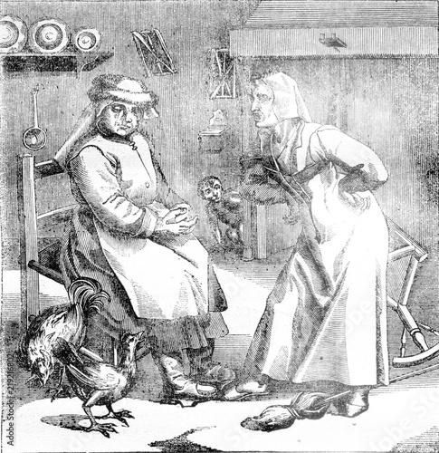Valokuvatapetti What worse than the Devil? A contentious woman, vintage engraving