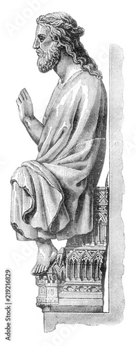 The great god of Therouanne in the Cathedral of Saint Omer, department of Pas de Calais, vintage engraving Wallpaper Mural
