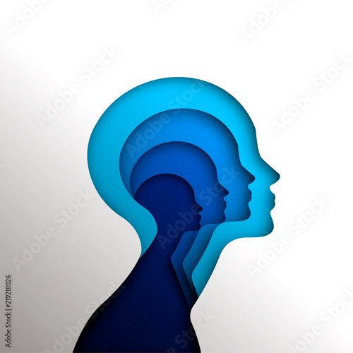 Human head concept cutout for psychology Fotobehang