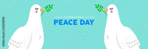 International Peace social banner of white dove birds Canvas