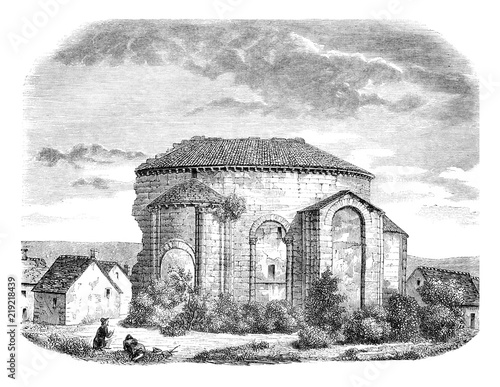 Photo  Ruins of the Church of Saint Leonard, External view of the apse, vintage engraving