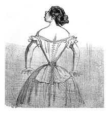The Corset, Vintage Engraving.