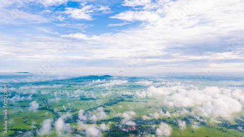 Aerial view of Cloudy sky high above the earth