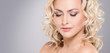 Leinwanddruck Bild - Beauty portrait of attractive blond woman with curly hair and a beautiful hairstyle. Makeup and cosmetics concept.