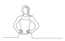 Continuous Line Drawing Of Standing Confident Healthy Woman