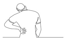 Continuous Line Drawing Of Man Suffering From Back Pain