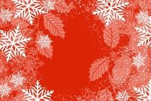 Holly And Berries Snowflake Border In White On Red Background For Holiday And Christmas With Open Center