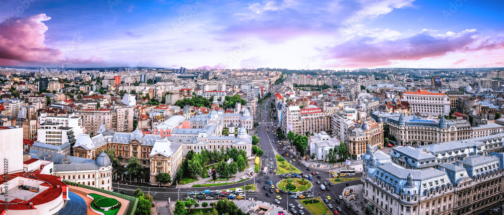 Fototapety, obrazy: 180 Degrees aerial panorama of the capital city of Romania, Bucharest.