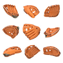 3d Rendering Of Many Orange Leather Baseball Gloves Flying In Different Angles Of View On A White Background.