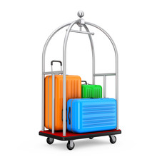 Large Multicolour Polycarbonate Suitcases In Silver Luxury Hotel Luggage Trolley Cart. 3d Rendering