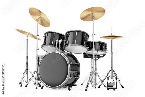 Tableau sur Toile Professional Rock Black Drum Kit. 3d Rendering